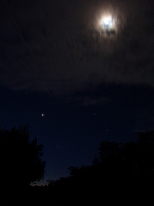Moon, Venus, Orion & Clouds